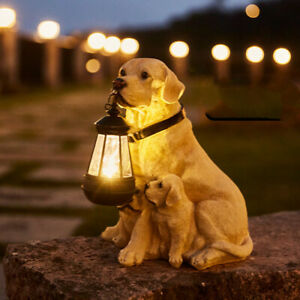 LED Solar Light Dog Lantern Sculpture Garden Ornament Home Porch Decor