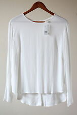 H&M Hip Length Viscose Patternless Tops & Shirts for Women