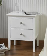 Contemporary Two Drawer White Wooden Bedside Table Unit Cabinet Crystal Handles
