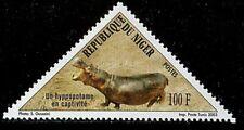 NIGER 2003 YT 1655 HIPPOPOTAME CAPTIVITE ODD SHAPE TRIANGLE TRIAGULAR MNH RARE