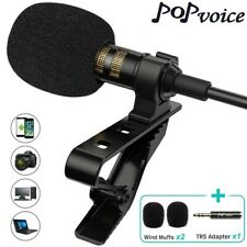 PoP Voice Lavalier Lapel Microphone PV510+ clip on wired omnidirectional black