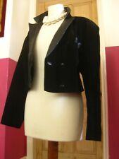 Ladies black suede leather BOLERO short TUX DJ JACKET UK 14 USA 10 steampunk