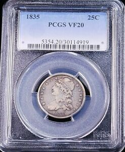 1835 Capped Bust Quarter PCGS VF20 with Some Luster #GC266
