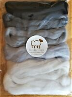 60g 100% Pure Merino Wool Tops Roving for felting and spinning. Shades of grey.