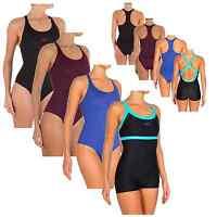 Damen Badeanzug Classic Sport Schwimmanzug mit Bein 34 36 38 40 42 44 46 48 50