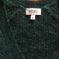 KENZO Mix Blend Wool Mohair Green Woman's Knit Top V Neckline S