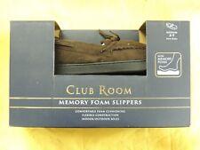 NEW in BOX Club Room Memory Foam Slippers - Men's Medium 8-9 Brown Faux Suede