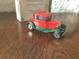 Rare Vintage Matchbox  Postal Box MB 73 Model A Ford in Green & Red