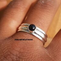 Black Onyx Ring Solid 925 Sterling Silver Ring Spinner Meditation  Jewelry - R51