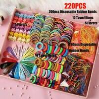 220Pcs Candy Color Kids Girls Hair Clips Rope Ponytail Holder Hair Accessories !