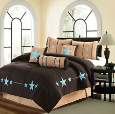 7 Piece Micro Suede Brown Comforter Set Queen Or King Size AT Linen Plus