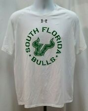 Pre-owned Under Armour Heat Gear Loose Usf Bulls White Shirt Size L A825