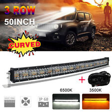 12D 50INCH Curved Amber Strobe 2800W LED Light Bar Spot Flood Off Road Truck 52""