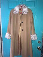 CARAVELLE Women Long Beige Wool Vintage Coat Faux Fur collar cuff Free Ship EUC