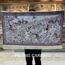 YILONG 2'x3' 400Line Hunting Scene Tribal Tapestry Silk Carpet Area Rug 073H