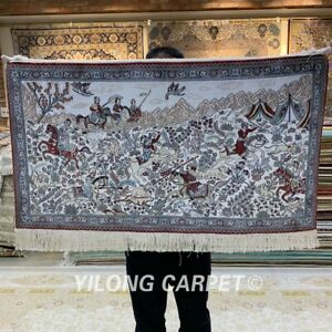 YILONG 2'x3' 400Line Hunting Scene Tribal Tapestry Silk Carpet Area Rug 073H