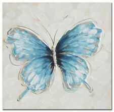 Blue  Butterfly Hand Painting Picture Stretched Canvas Print Wall Art Home Decor
