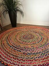 💜 FAIR TRADE SHABBY CHIC COTTON JUTE BRAIDED MULTI COLOURED ROUND RAG RUG 120cm
