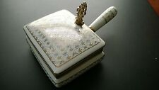 Antique RARE PORCELAIN ASHTRAY-JEWELRYBOX W/Handle and Metal Opener, Metal Trim
