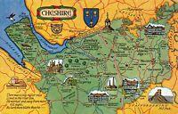 Map Postcard. Cheshire, Chester, Birkenhead, Crewe, Macclesfield, Northwich BM3