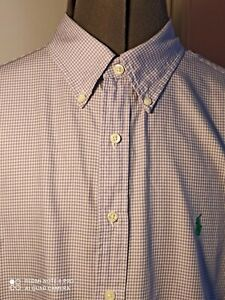 "Ralph Lauren Designer mens lilac gingham check oxford formal shirt 17"" excellent"