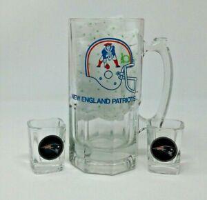New England Patriots Pewter Framed Emblem Logo Square 2 Shot Glasses & 64 oz Mug