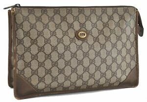 Authentic GUCCI Clutch Bag GG PVC Leather Brown E0470
