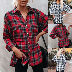 Damen Kariert Karohemd Casual hemd Oversized Bluse Hemd Blogger Shirts Tops DE