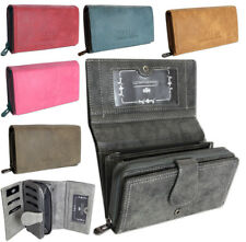 Damen Geldbörse groß schwarz Portemonnaie viele Kreditkartenfächer -7 Farben