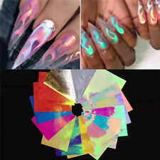 16Pcs Holographic Fire Flame Nail Hollow Sticker Manicure Nail Art Decoration