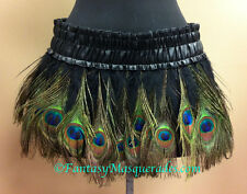 S/M Peacock Eye & Rooster Feather Skirt Burlesque Costume Mardi Gras