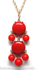 Red  Cabochon Bubble Statement Necklace 20 - 23 inch Goldtone Chain NEW