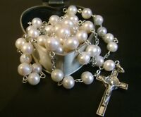 Sterling 925 Silver AAA+ 8mm Real Pearl ROSARY CROSS Catholic Crucifix & box