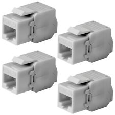 4x CAT6A RJ45 Network LAN Ethernet Keystone Jack Tool Less 180 Degree 8P8C White