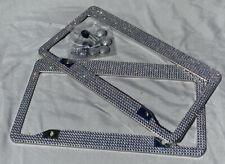 2 Metal License Plate Frames with Rhinestones