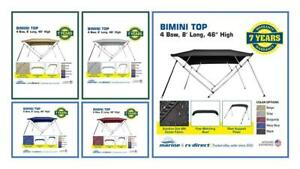 "Bimini Top Boat Cover 4 Bow 8ft. Long 46"" & 54"" High Solution Dye Fabric/Canvas"