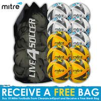 Mitre Ultimatch White/Yellow mixed Footballs Plus FREE Mesh Bag 2018