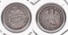 CHILE - RARE SILVER 1/2 DECIMO COIN 1874 YEAR KM#137.2