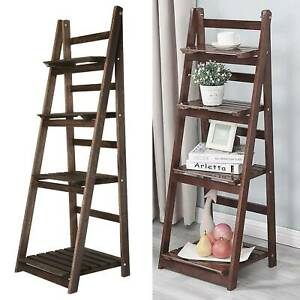 4 Tier Ladder Book Shelf Bookcase Garden Flower Plant Pot Display Rack Wooden
