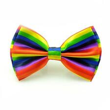 Mens Rainbow Strap Bow Tie Bowtie Plain Wedding Novelty Suit Party Costume