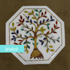 """18"""" white marble table top inlay floral marquetry Handmade Home decor"""