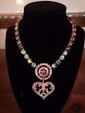 Leetal Kalmanson Beautiful Heart Medallion Rhinestone Necklace - 16 3/4 Inches