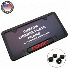 Black Stainless Steel Front Rear Emblem License Plate Frame Cover Gift - GMC