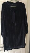 SUGARHILL BOUTIQUE NAVY BLUE WHITE CHECK PUSSY BOW NECK DRESS UK 14 BNWOT