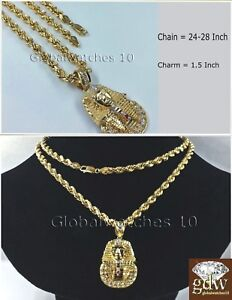 "Real Mens 10k Gold 26"" Inch Rope Chain & Egyptian Pharaoh Head Charm Pendant  N"