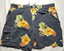 Men's Sz 1XB Big Tommy Bahama Hawaiian Floral Print Swim Shorts Trunks Suit