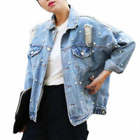 Ladies denim Jacket Womens beads Pearl Jean Loose Jackets studded hole of torn