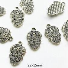 10pcs 22x15mm Skull charms antique silver tone Pendants Making