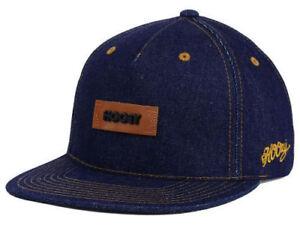 Hooey Denim & Leather Patched Logo Blue Adjustable Strap Back Flat Bill Cap