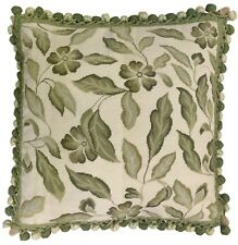 """20"""" x 20"""" Handmade Wool Needlepoint Petit Point Green Leaves Pillow with Tassels"""